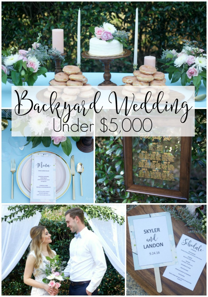 How to Plan a Wedding for under $5,000 | PartiesforPennies.com | Backdrop, Tables, Reception, Blue, Pink