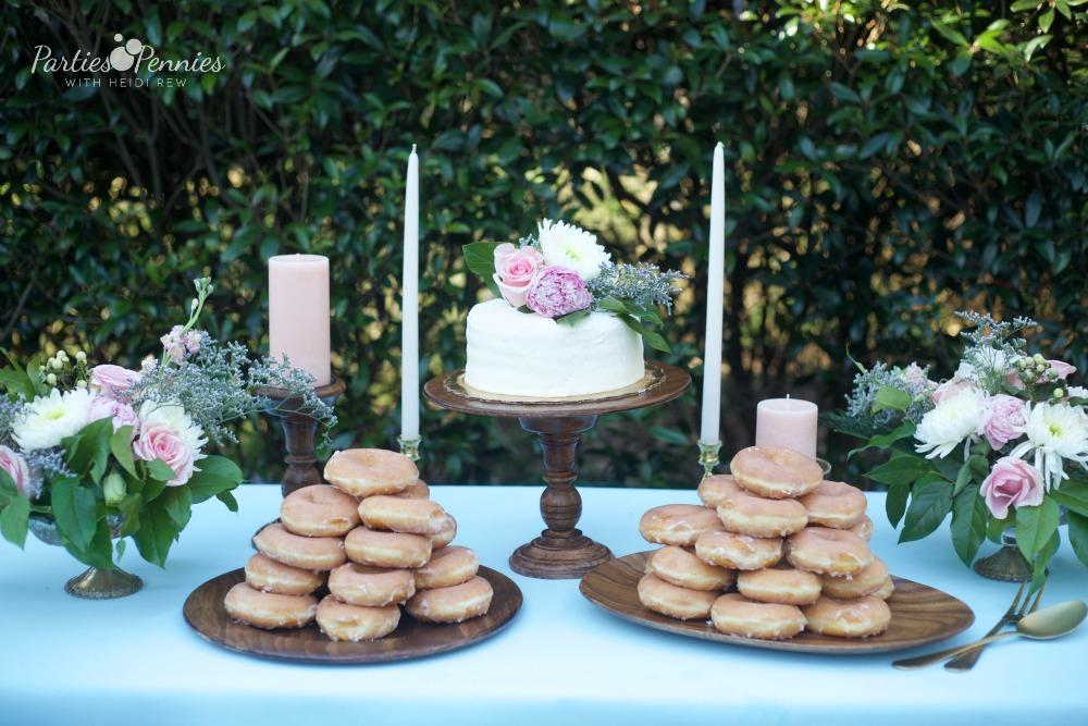 How to Plan a Wedding for under $5,000 | PartiesforPennies.com | Doughnuts, Wedding Dessert, Budget-Friendly Wedding Cake Alternative