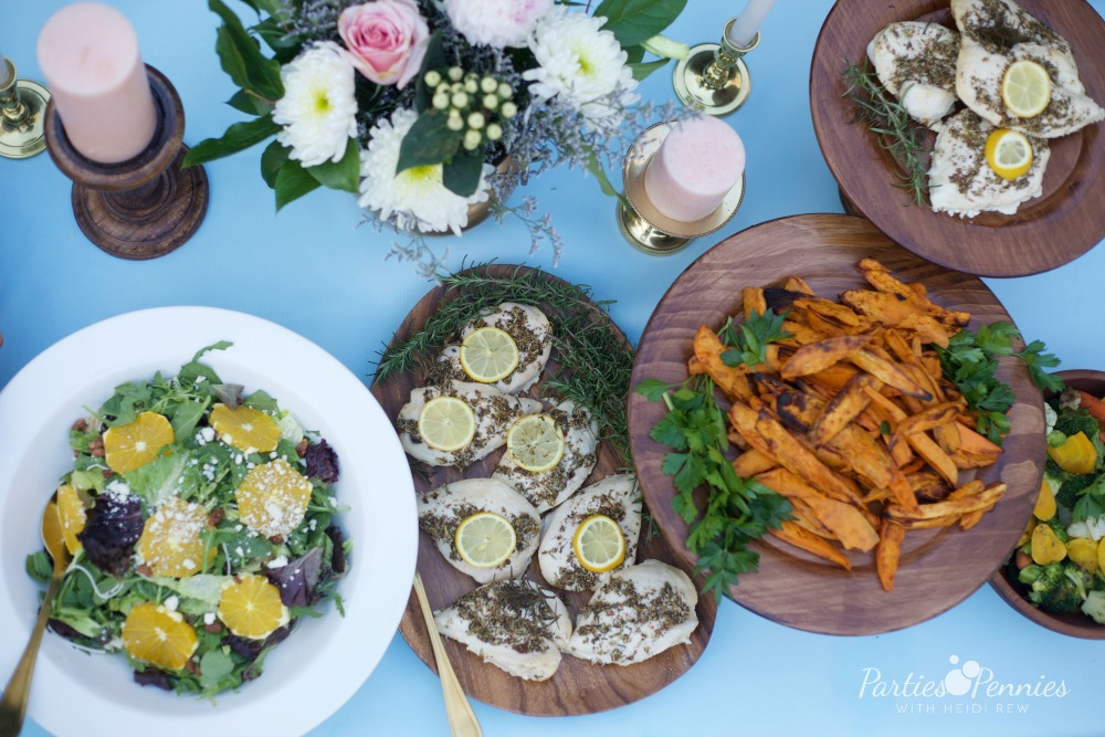 How to Plan a Wedding for under $5,000 | PartiesforPennies.com | Reception Food, Sweet Potato Wedges, Salad, Budget Friendly Wedding Food