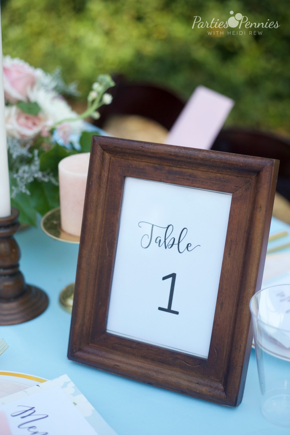 How to Plan a Wedding for under $5,000 | PartiesforPennies.com | Table Numbers, Table Number Printables, Frame