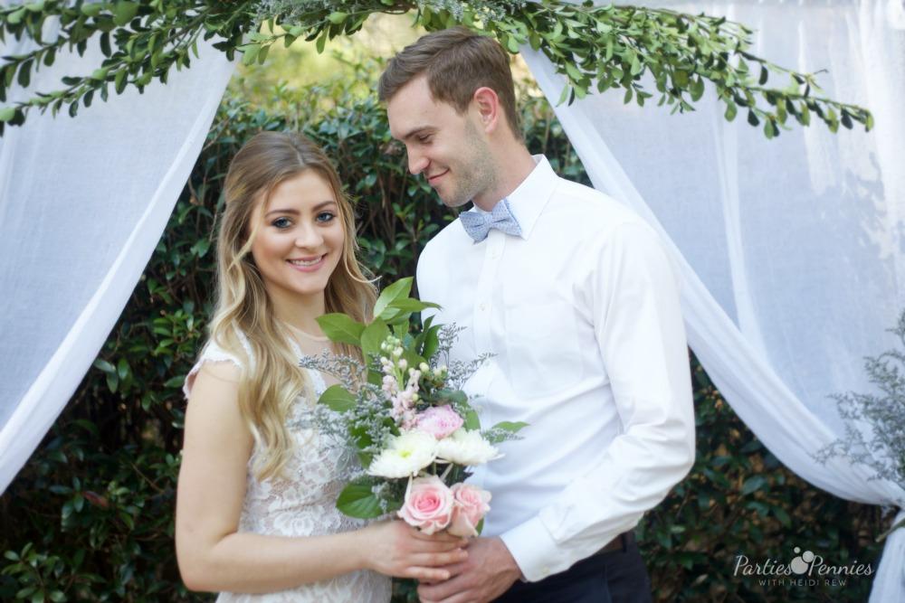 How to Plan a Wedding for under $5,000 | PartiesforPennies.com | Bride & Groom, Wedding Backdrop, DIY Wedding Backdrop