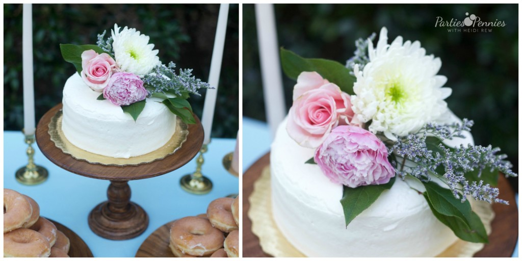 How to Plan a Wedding for under $5,000 | PartiesforPennies.com | Budget-Friendly Wedding Cake, Flowers on Wedding Cake, Pink, blue, gold