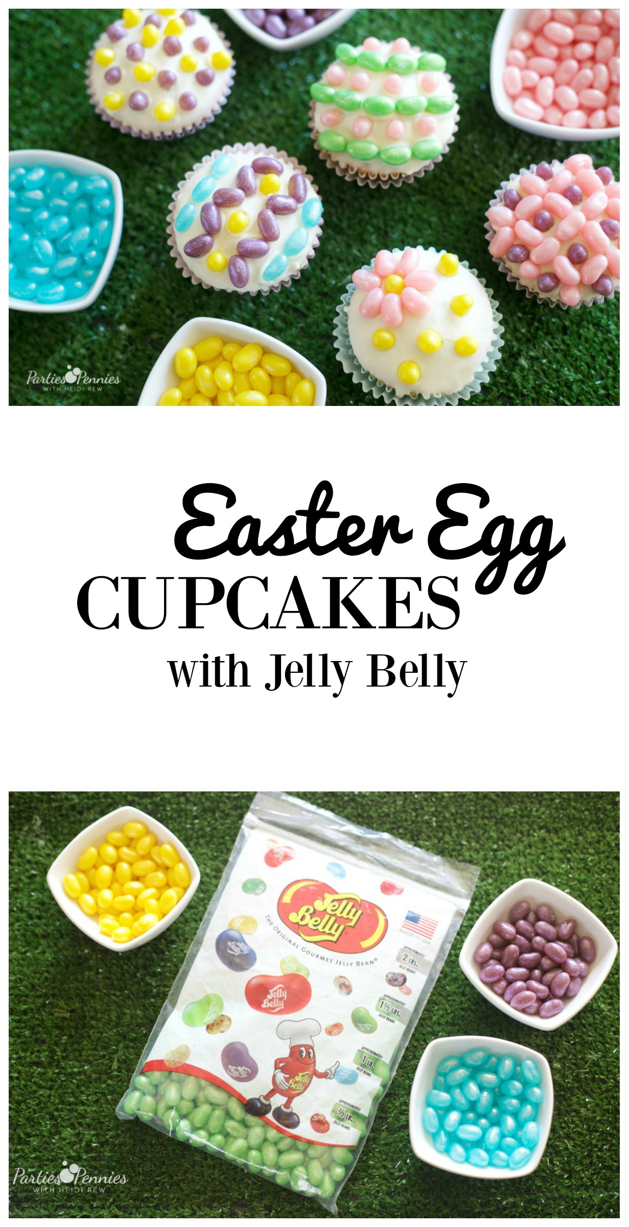 Easter Egg Cupcakes with Jelly Belly Jelly Beans by PartiesforPennies.com | Easy Easter Dessert