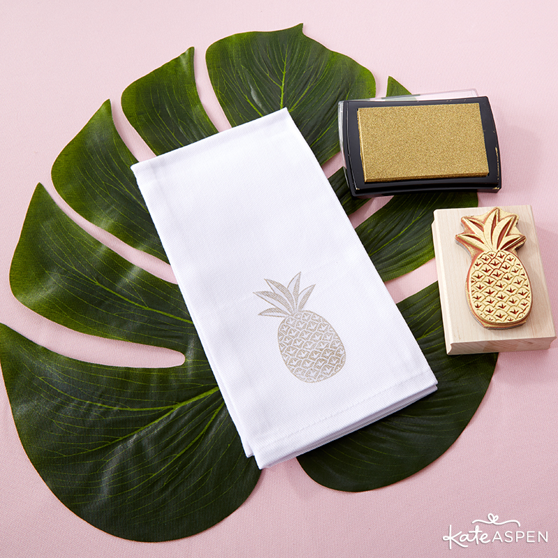 Pineapples & Palms Theme Wedding | Products by Kate Aspen | Styling by PartiesforPennies.com | DIY Pineapple Napkins