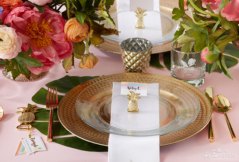 Pineapples & Palms Theme Wedding | Products by Kate Aspen | Styling by PartiesforPennies.com | Place setting