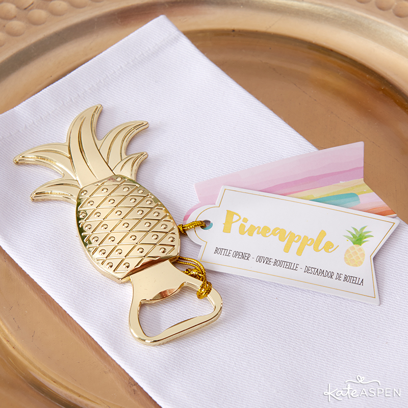 Pineapples & Palms Theme Wedding | Products by Kate Aspen | Styling by PartiesforPennies.com | Pineapple Bottle Opener