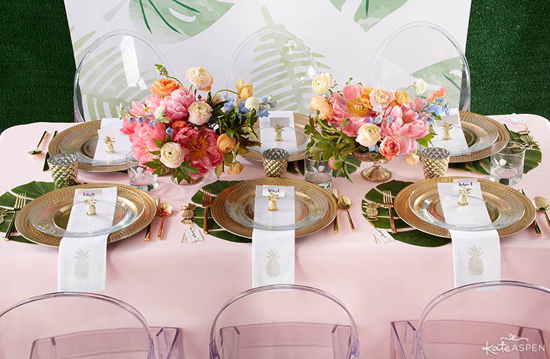 Pineapples & Palms Theme Wedding | Products by Kate Aspen | Styling by PartiesforPennies.com | Reception Table