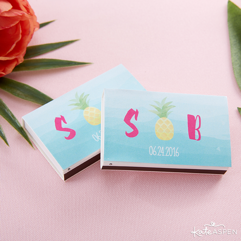 Pineapples & Palms Theme Wedding | Products by Kate Aspen | Styling by PartiesforPennies.com | Pineapple Matchbox Favors or Tropical Matchbox Favors