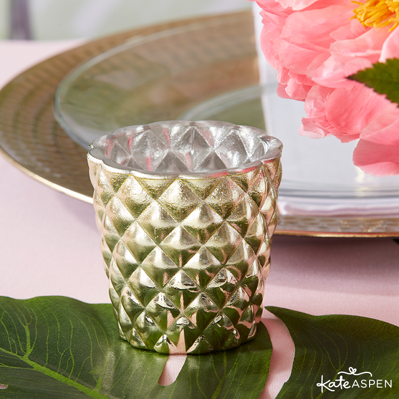 Pineapples & Palms Theme Wedding | Products by Kate Aspen | Styling by PartiesforPennies.com | Pineapple Votive