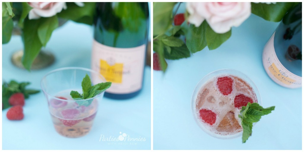 How to Plan a Wedding for under $5,000 | PartiesforPennies.com | Rose, Pouring Wine, Raspberries, Mint, Drink Recipe
