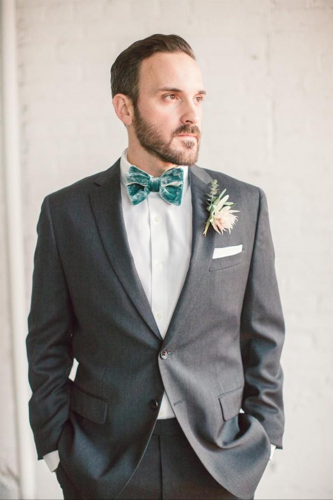 Feminine Wedding Inspiration by A Charming Fete | PartiesforPennies.com | Groom, Velvet Bow Tie,