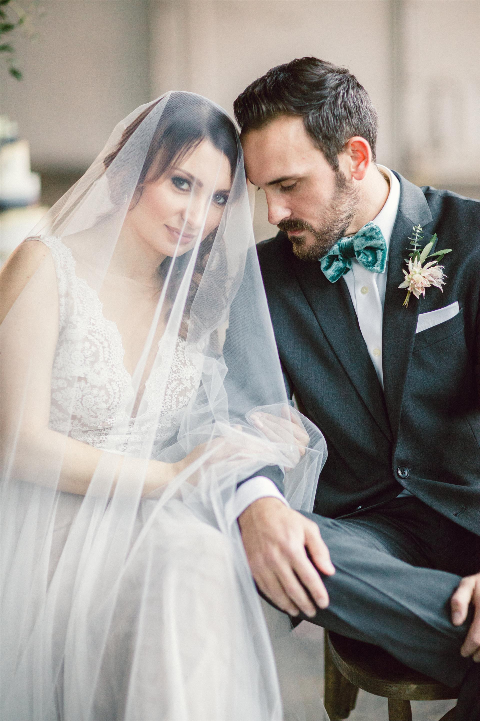 Feminine Wedding Inspiration by A Charming Fete | PartiesforPennies.com | Bride and Groom