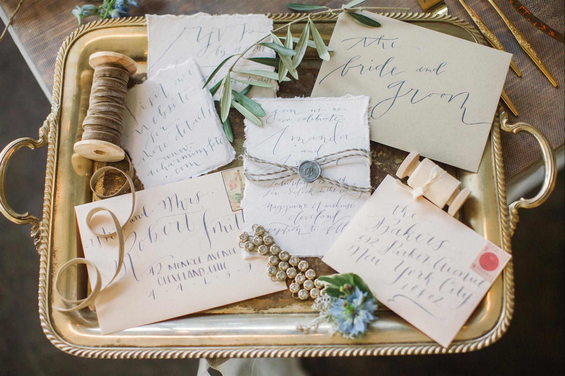 Feminine Wedding Inspiration by A Charming Fete | PartiesforPennies.com | Invitations, Paper, Handwritten, Wedding Invites