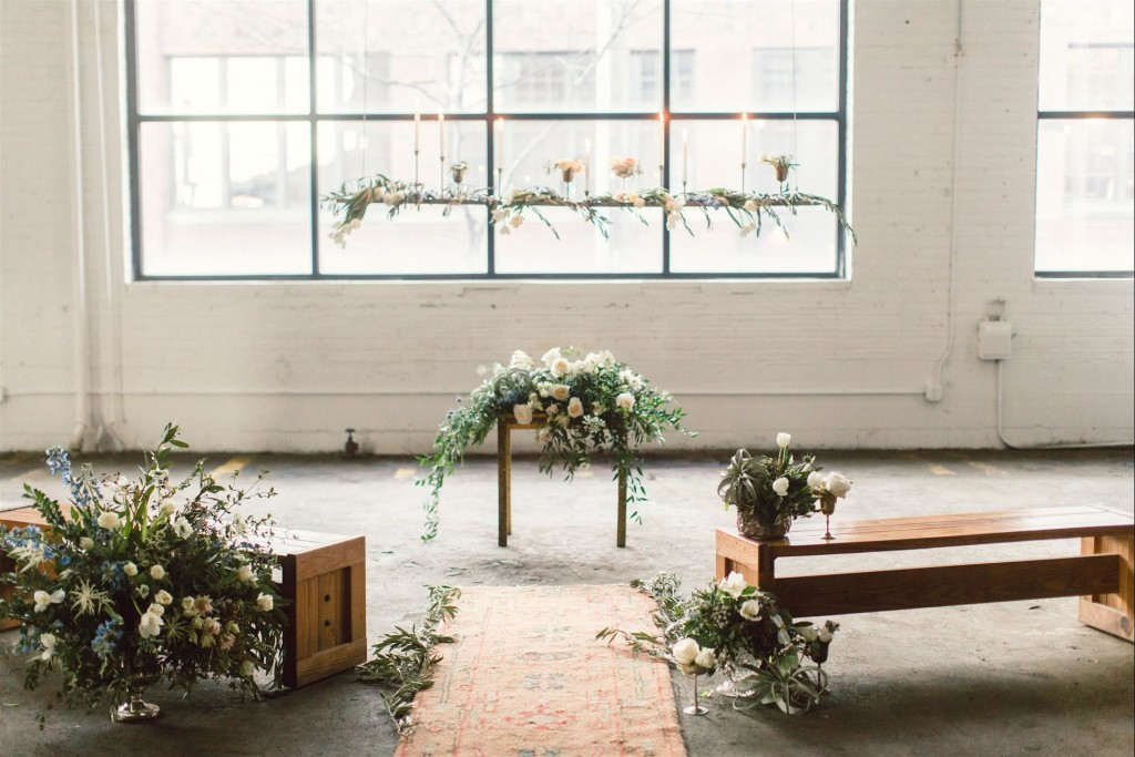 Feminine Wedding Inspiration by A Charming Fete | PartiesforPennies.com | Ceremony, Aisle, Sage, Pale Pink,