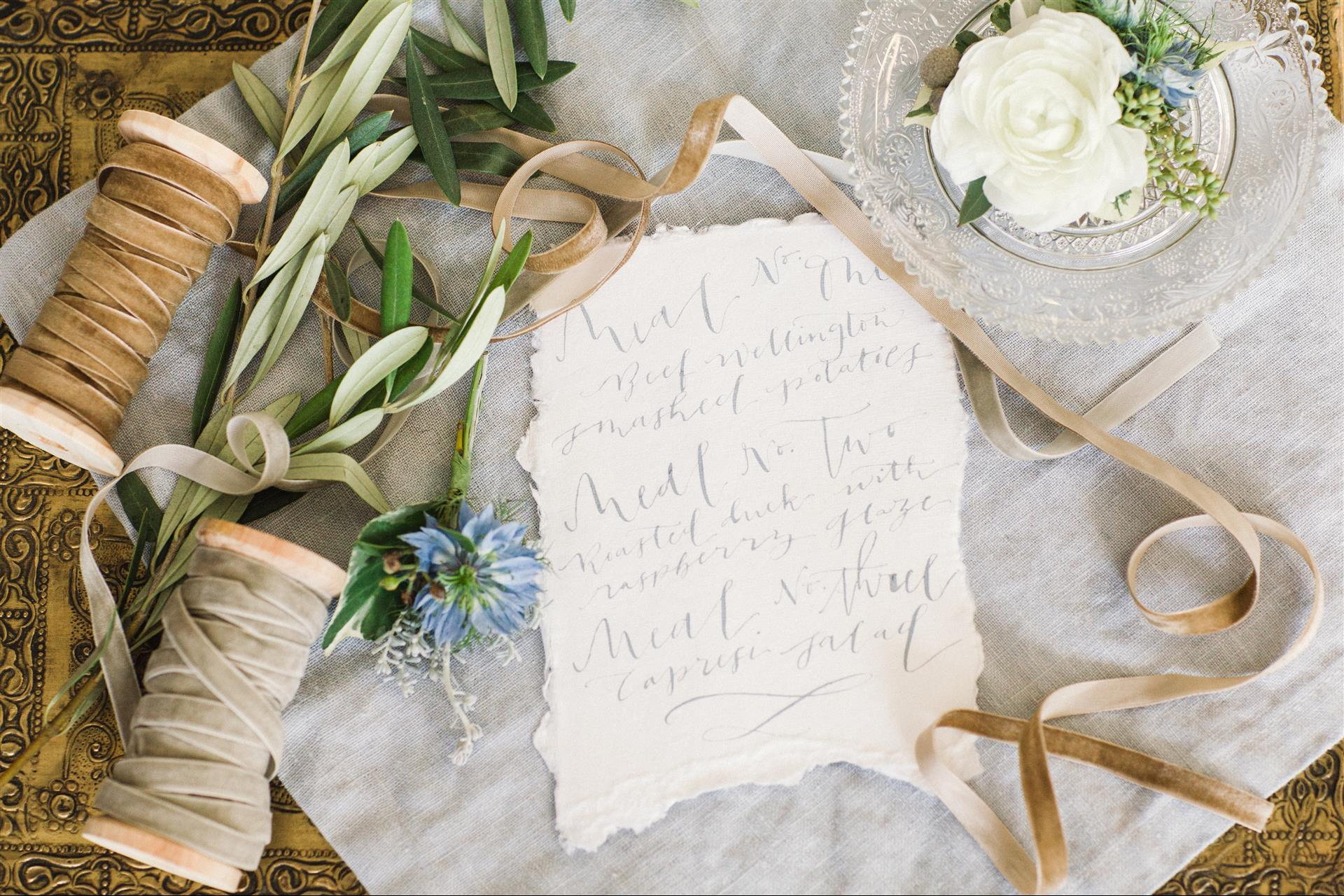 Feminine Wedding Inspiration by A Charming Fete | PartiesforPennies.com | Invitations, Paper, Handwritten, Wedding Program