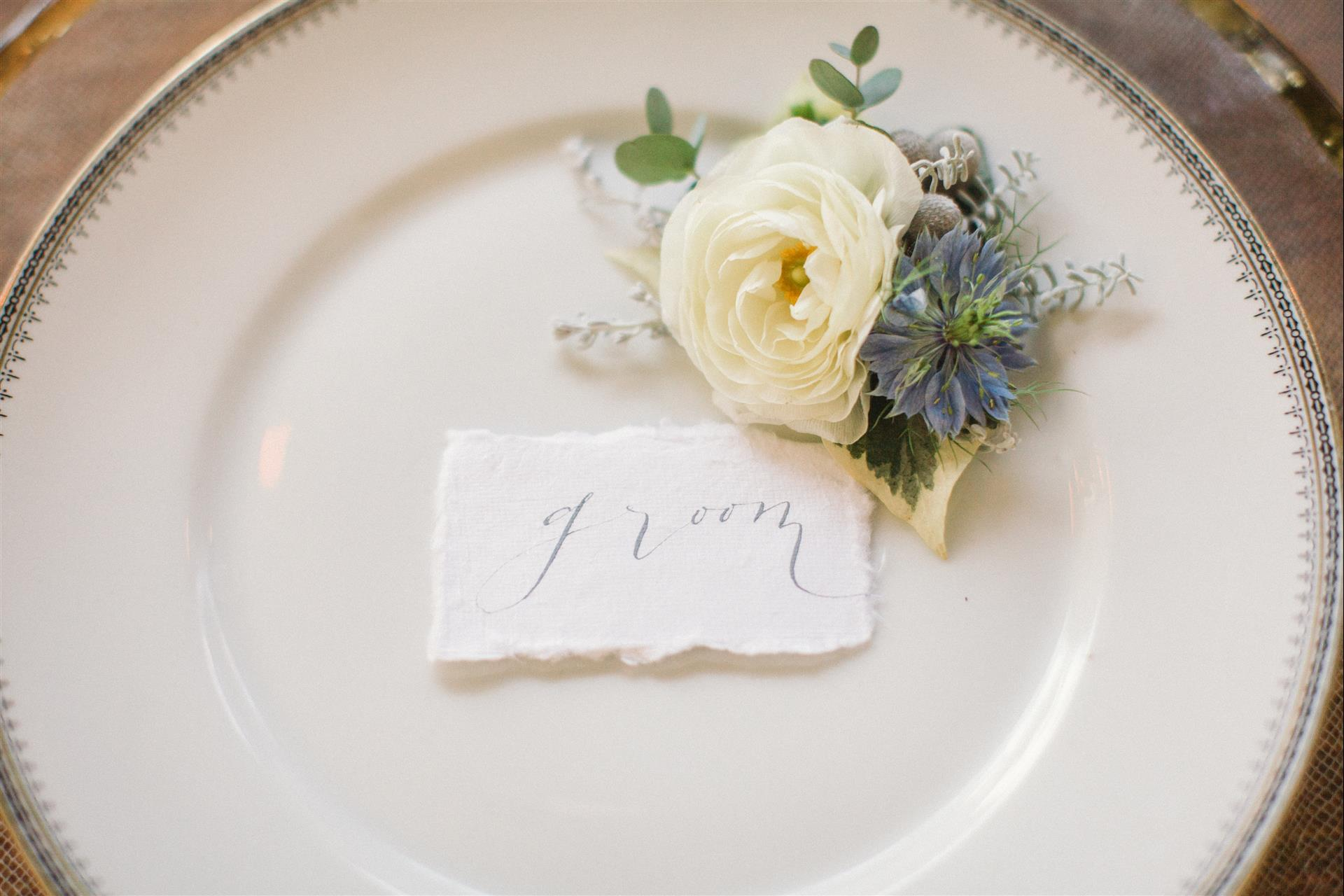 Feminine Wedding Inspiration by A Charming Fete | PartiesforPennies.com | Reception Table, Table Setting, Tablescape, Place Setting