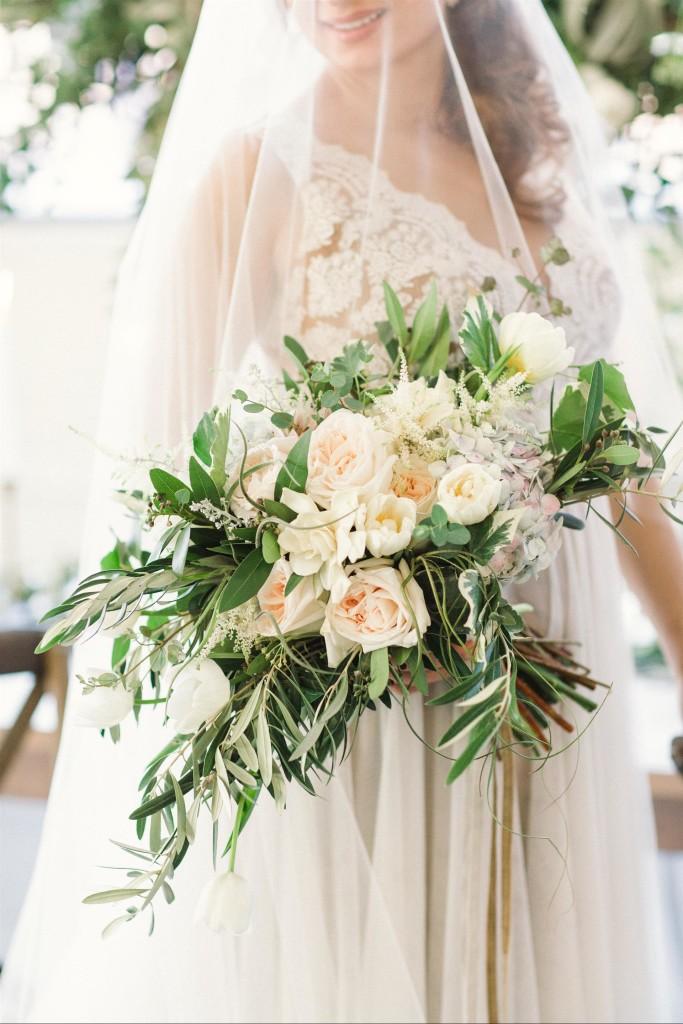 Feminine Wedding Inspiration by A Charming Fete | PartiesforPennies.com | Bridal Bouquet, Peach, Light Pink, Pale Pink, Florals, Flowers