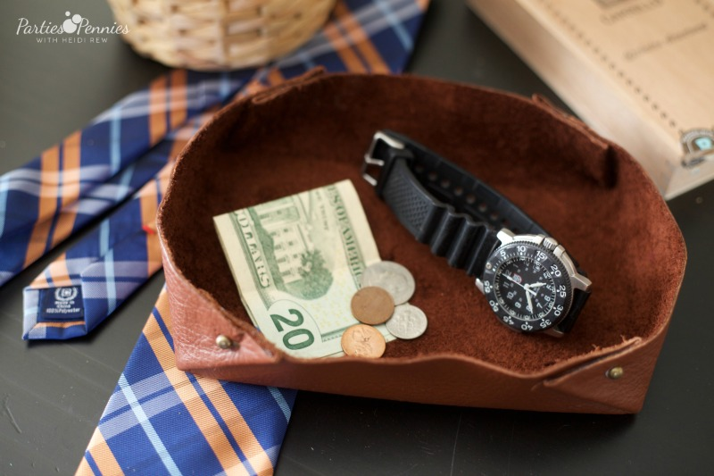 Father's Day DIY Gift Idea - DIY Leather Catchall or Tray | PartiesforPennies.com | DIY, Father's Day, GIft, Handmade, Leather