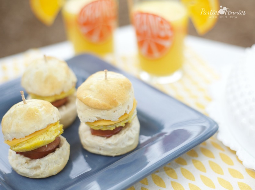Mini Sausage Egg Cheese Biscuit Appetizer Recipe | PartiesforPennies.com | Recipe, Breakfast, Brunch, Easy Appetizer, Smoked Sausage Easy Recipes