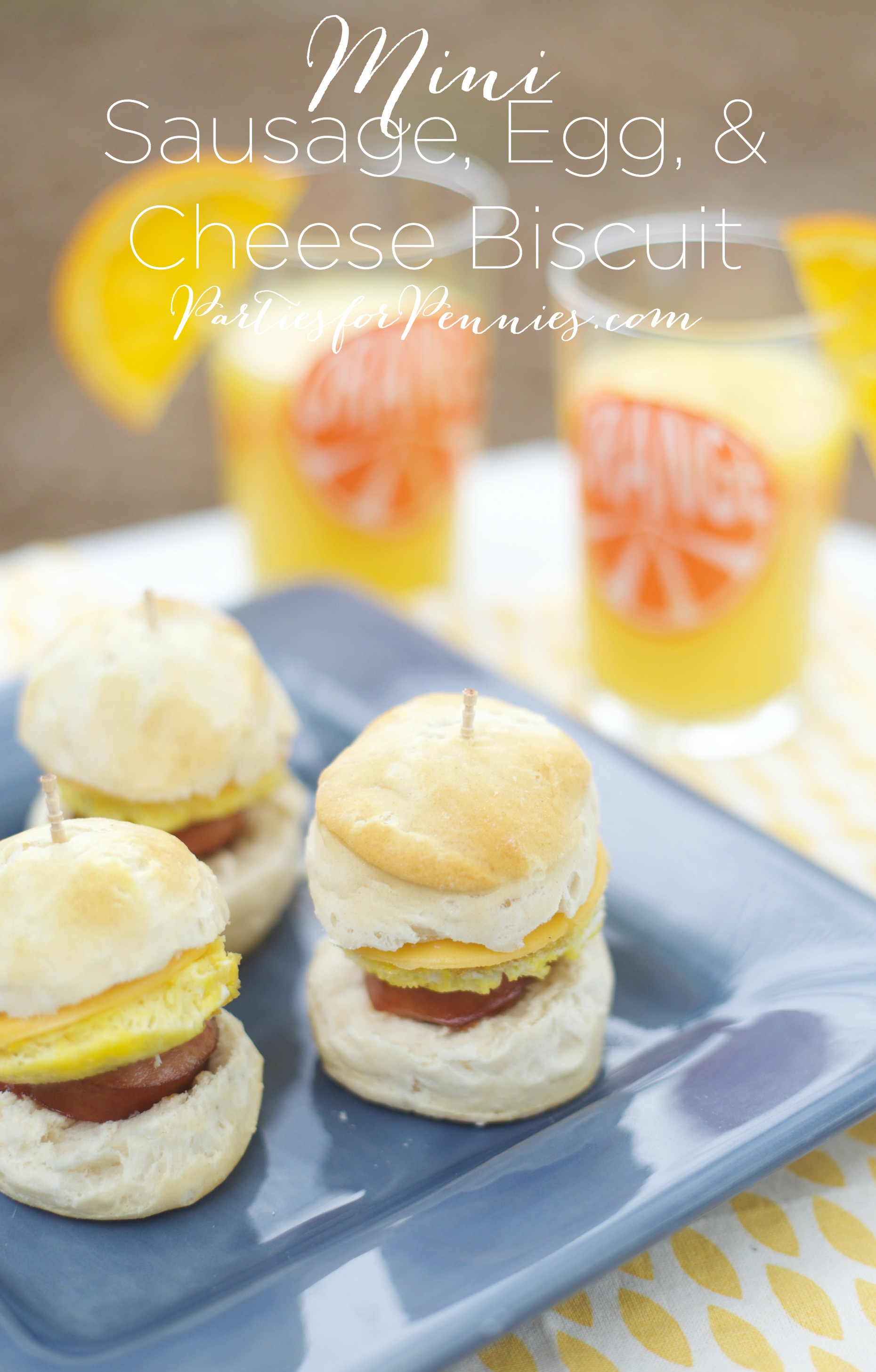 Mini Sausage Egg Cheese Biscuit Appetizer Recipe | PartiesforPennies.com | Recipe, Breakfast, Brunch, Easy Appetizer