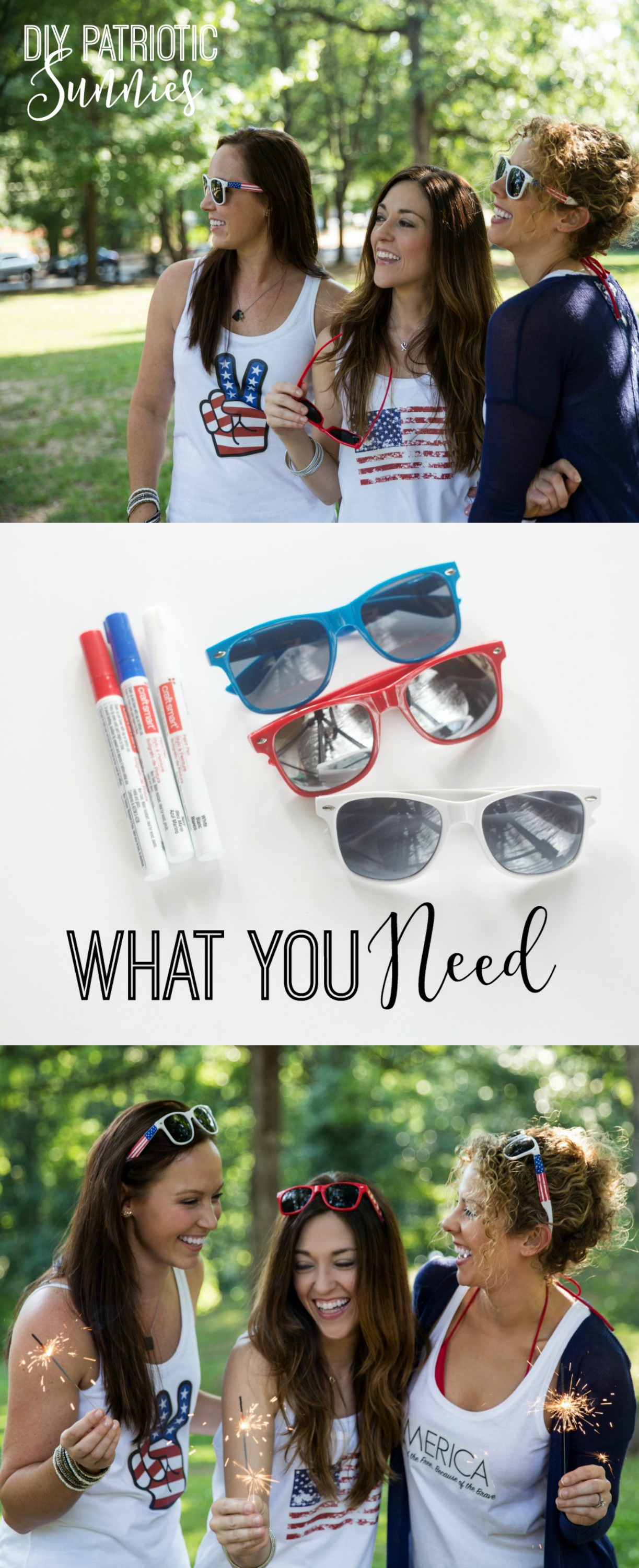 DIY Patriotic Sunglasses by PartiesforPennies.com | 4th of July, Memorial Day, Fourth of July, DIY Sunnies, Paint Pen, Craft, Summer Activity, Party Favor
