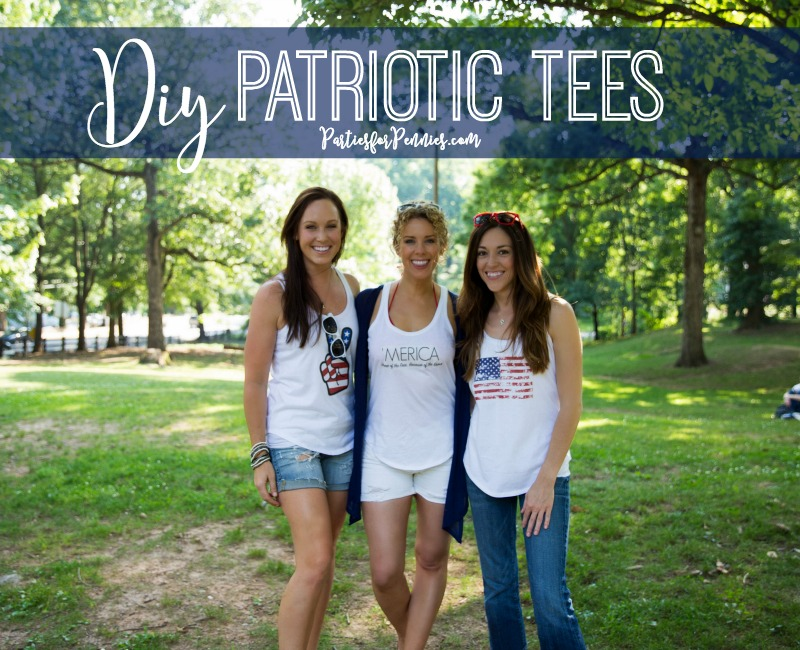 DIY 4th of July Tanks by PartiesforPennies.com | Download, Patriotic, Tees, Flag, Merica Tank, American Flag Peace Sign, American Flag