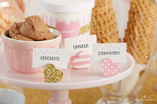 Pink and Gold Baby Shower with Kate Aspen | Featured on PartiesforPennies.com | Baby Shower, Bridal Shower, Ice Cream Buffet, Ice Cream Bar, Dessert, Favor