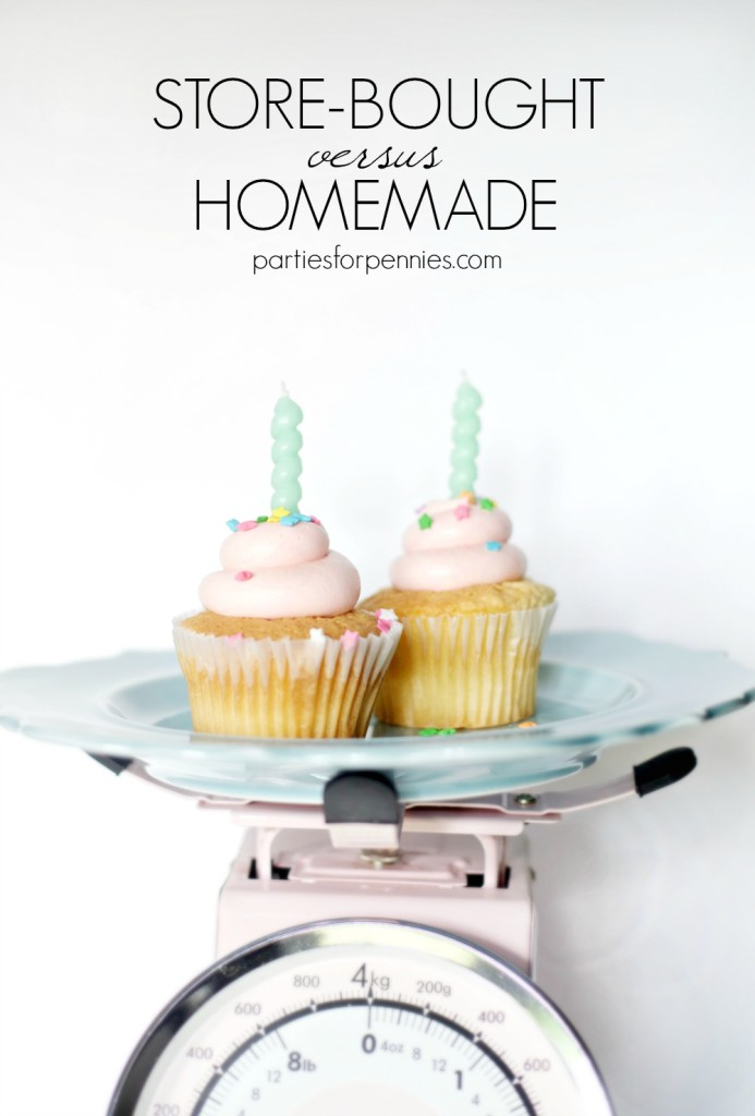 Which is Cheaper - Store-Bought or Homemade Cupcakes or Cake? Find out on PartiesforPennies.com | Cupcake, Cake, Birthday, Party, Dessert, Budget-Friendly, Sprinkles, Candles