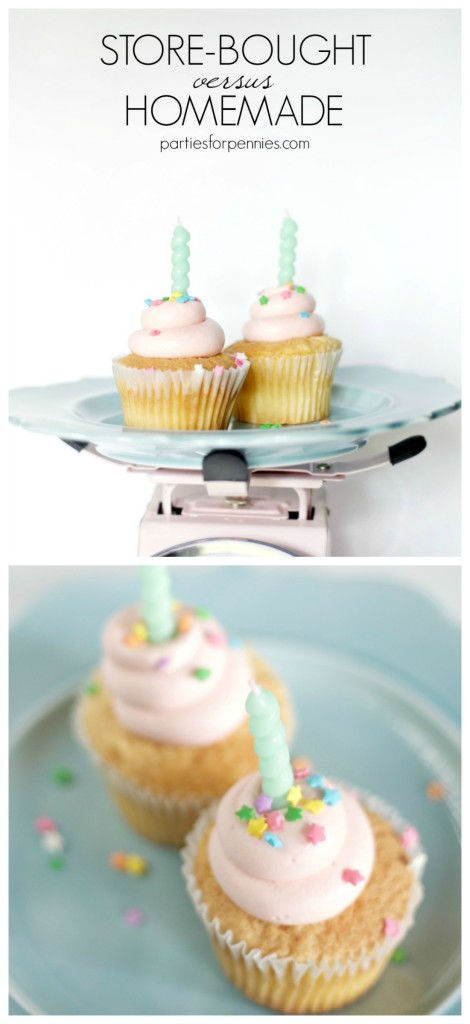 Which is Cheaper - Store-Bought or Homemade Cupcakes or Cake? Find out on PartiesforPennies.com | Plus 12 DIY Cake Topper Ideas | Cupcake, Cake, Birthday, Party, Dessert, Budget-Friendly, Sprinkles, Candles
