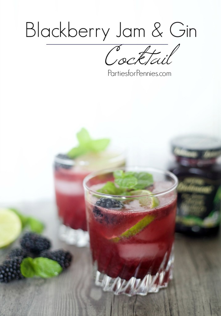Blackberry Jam & Gin Cocktail Recipe by PartiesforPennies.com | Drink, Summer, Fall, Drink Recipe, Picnic, Entertaining