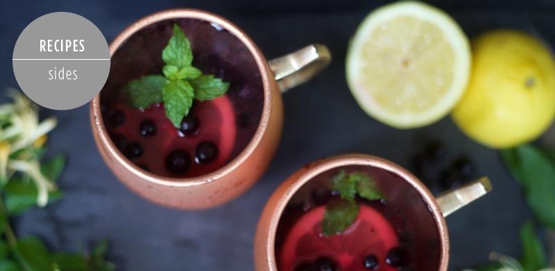 Honeysuckle Lemonade Cocktail Recipe by PartiesforPennies.com | Drink, Cocktail, Recipe, Summer, Blueberry, Lemon, Mint