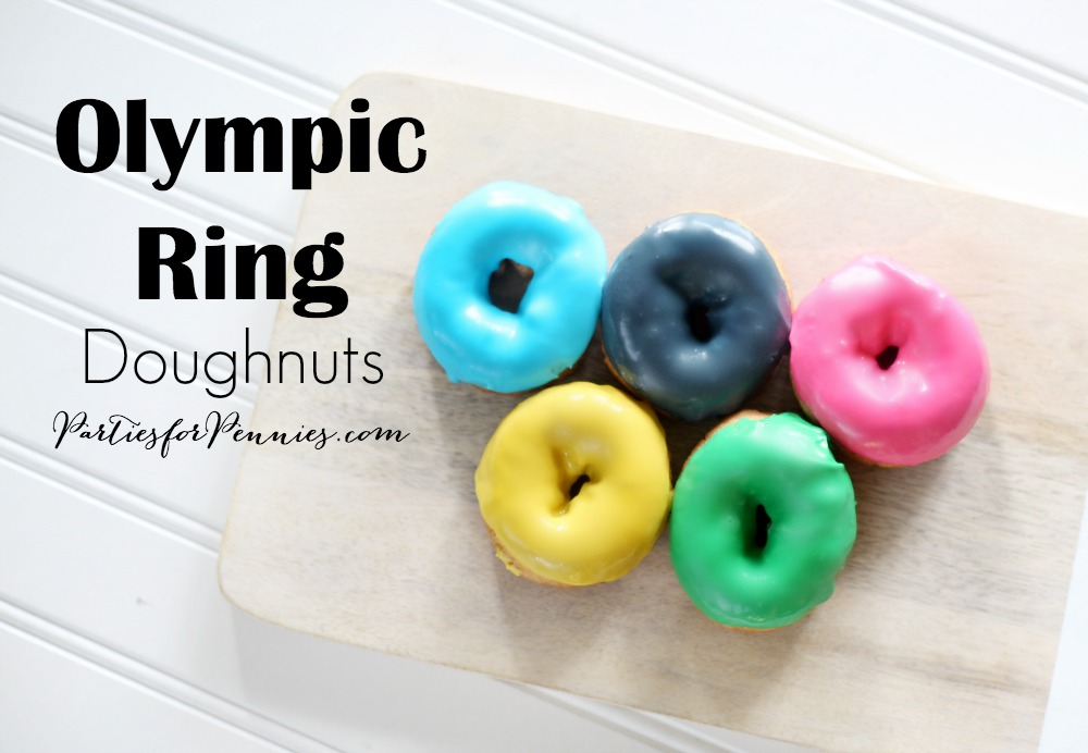 Olympic Ring Doughnuts by PartiesforPennies.com | Rio Olympics, Doughnuts, Dessert, Recipe, Classroom Treat, Olympic Games, Olympic Party