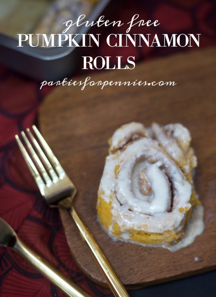 Pumpkin Roll Cinnamon Rolls - Gluten Free Recipe by PartiesforPennies.com | Fall, Breakfast, brunch, pumpkin, dessert, sweets