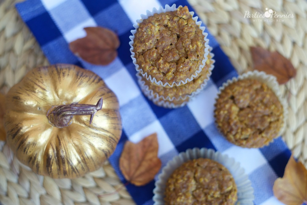 Gluten Free Pumpkin Oatmeal Muffins by PartiesforPennies.com | Healthy, Recipe, Fall, Pumpkin, Breakfast, Brunch