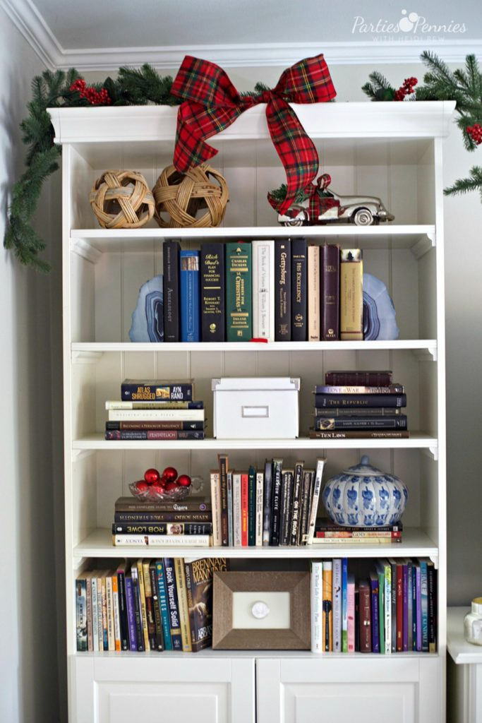 Christmas Home Tour by PartiesforPennies.com | Bookshelf Decorations, Red, Green, Plaid