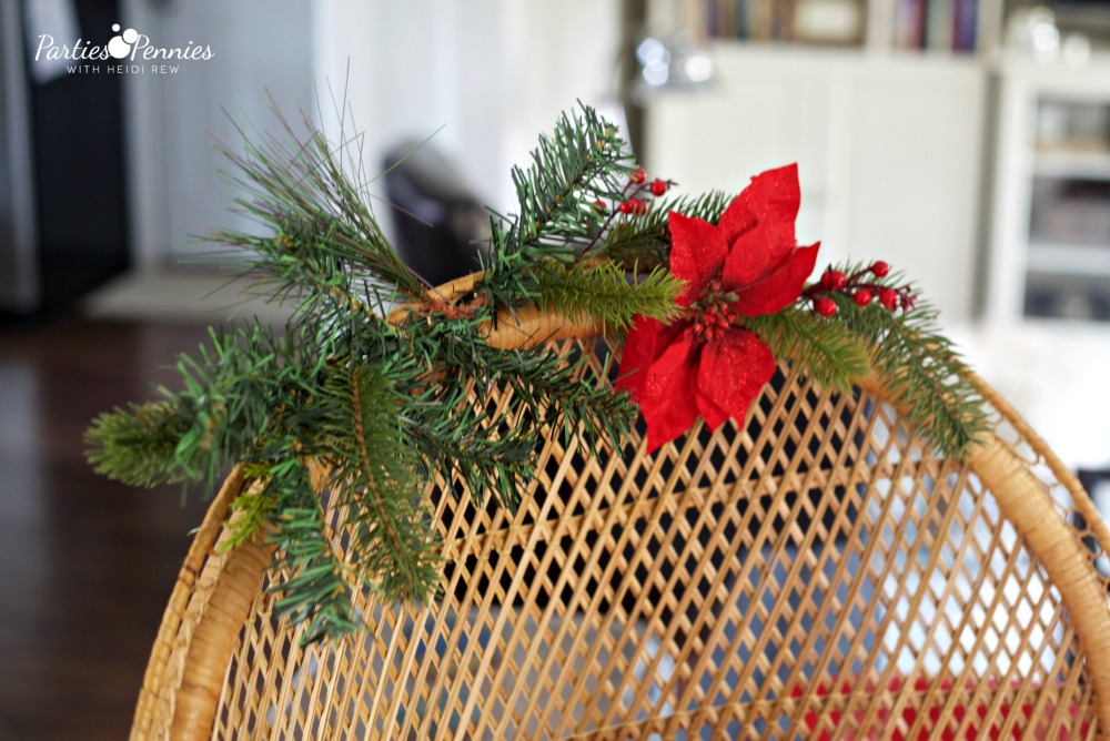 Christmas Home Tour by PartiesforPennies.com | Red, Green, Plaid, Rattan Woven Peacock Chair, Greenery