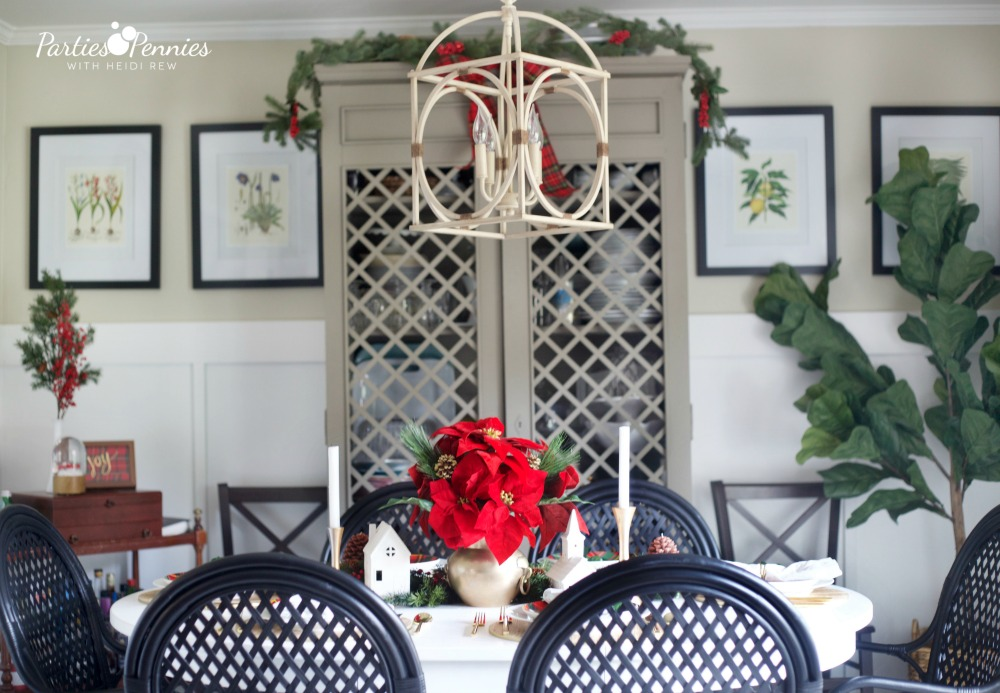 Christmas Home Tour by PartiesforPennies.com | Red, Green, Plaid, Christmas Decorations, Dining Room, Dining Table, Centerpiece, Tablesetting