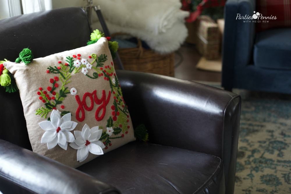 Christmas Home Tour by PartiesforPennies.com | Red, Green, Plaid, Christmas Decorations, Joy Pillow, Christmas Pillow