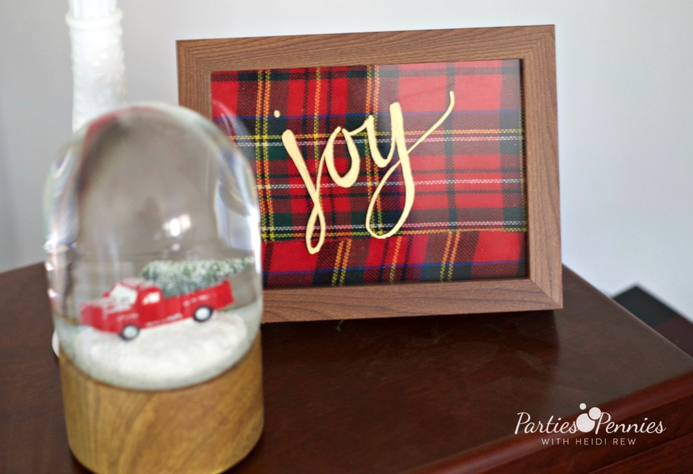 Christmas Home Tour by PartiesforPennies.com | Red, Green, Plaid, Christmas Decorations, Joy Sign, Framed Joy, Plaid Ribbon