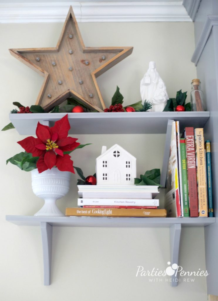 Christmas Home Tour by PartiesforPennies.com | Red, Green, Plaid, Christmas Decorations, Kitchen Shelf, Wooden Star,