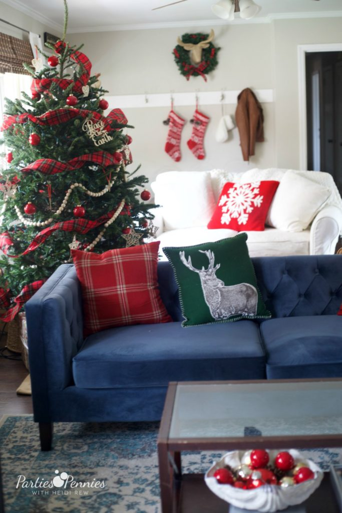 Christmas Home Tour by PartiesforPennies.com | Red, Green, Plaid, Christmas Decorations, Living Room, Christmas Tree