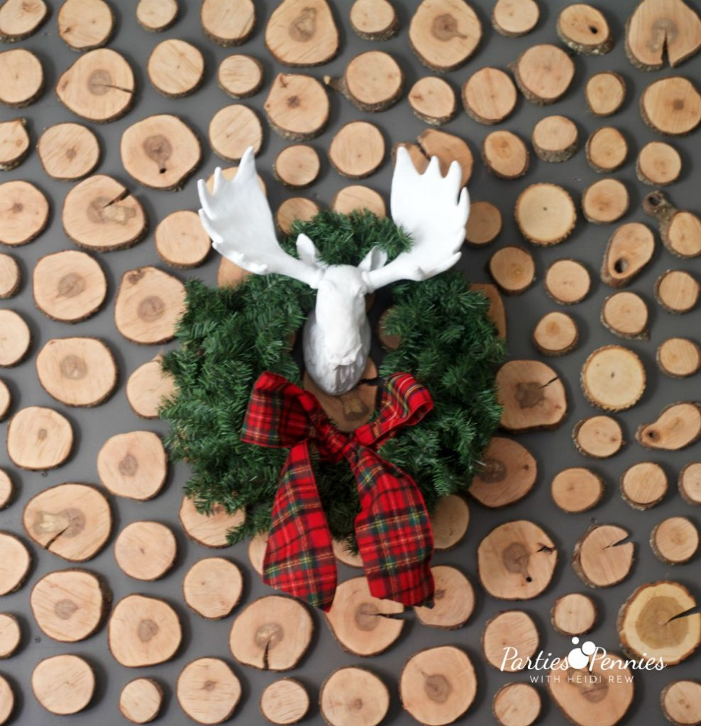 Christmas Home Tour by PartiesforPennies.com | Red, Green, Plaid, Christmas Decorations, Moosehead, Plaid Ribbon, Wreath