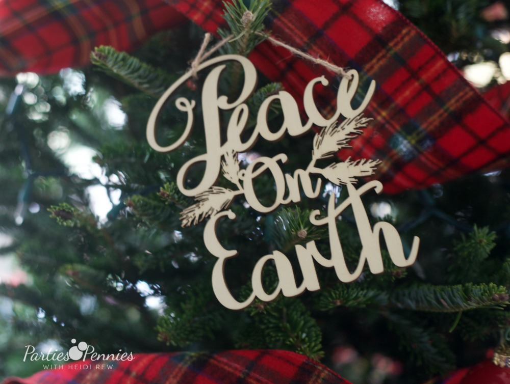 Christmas Home Tour by PartiesforPennies.com | Red, Green, Plaid, Christmas Decorations, Peace on Earth Ornament, Christmas Ornament, Wooden Ornament