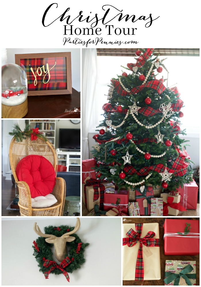 Christmas Home Tour by PartiesforPennies.com | Red, Green, Plaid, Christmas Decorations, Plaid Ribbon, Wooden Bead Garland, Budget Friendly Christmas Decorations