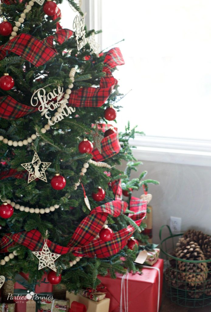 Christmas Home Tour by PartiesforPennies.com | Red, Green, Plaid, Christmas Decorations, Christmas Tree, Paid Ribbon