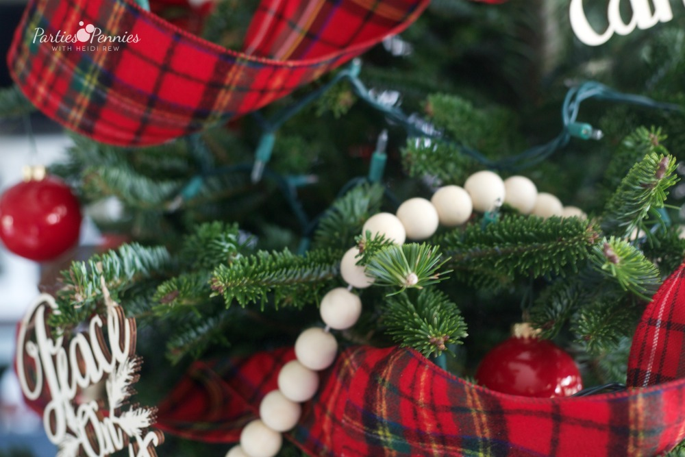 Christmas Home Tour by PartiesforPennies.com | Red, Green, Plaid, Christmas Decorations, Christmas Tree, Plaid Ribbon, DIY Wooden Bead Garland