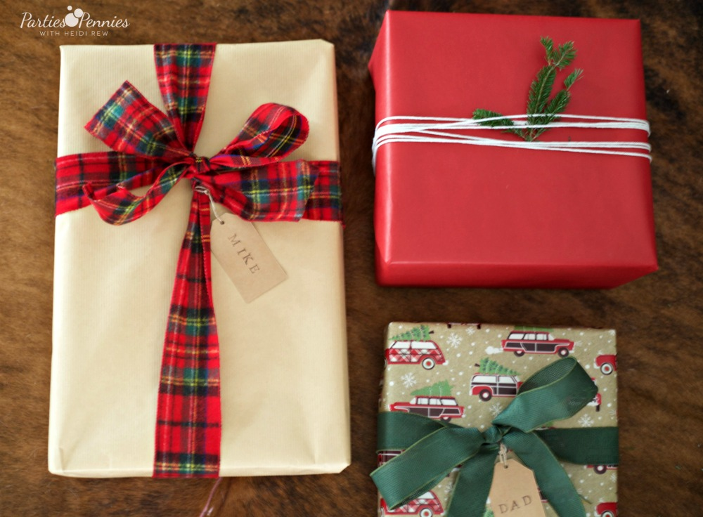 Christmas Home Tour by PartiesforPennies.com | Red, Green, Plaid, Christmas Present Wrapping Ideas, DIY Gift Wrapping