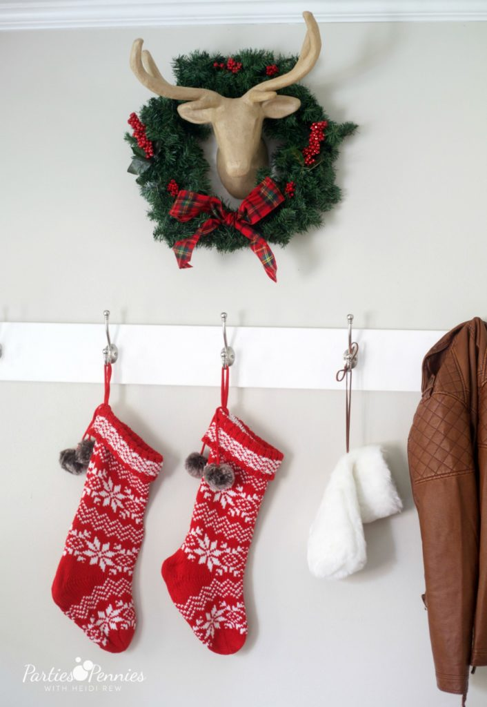 Christmas Home Tour by PartiesforPennies.com | Red, Green, Plaid, Christmas Decorations, Stockings, Deer Head, Wreath