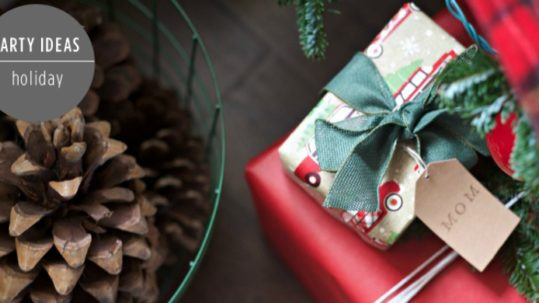 Christmas Home Tour by PartiesforPennies.com | Red, Green, Plaid, Christmas Decorations, Presents, Pinecones