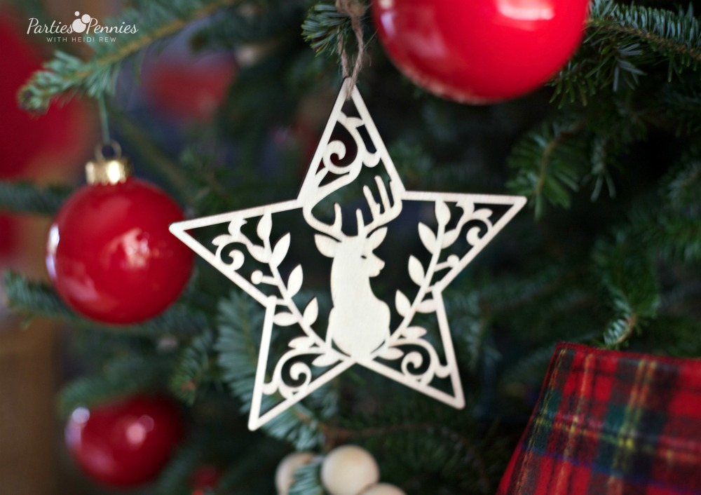 Christmas Home Tour by PartiesforPennies.com | Red, Green, Plaid, Christmas Decorations, Star Ornament, Deerhead ornament